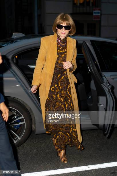 Anna Wintour arrives at the Marc Jacobs fashion show at the Park Avenue Armory on February 12 2020 in New York City