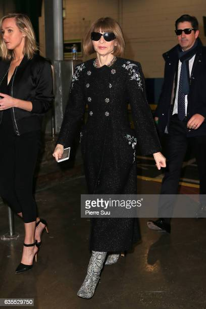 Anna Wintour arrives at the Yeezy show fashion during New York Fashion Week at pier 59 on February 15 2017 in New York City