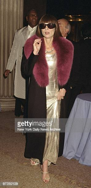 Anna Wintour arrives with sunglasses attending Metropolitan Museum of Art Costume Institute gala to introduce Gianni Versace Exhibition