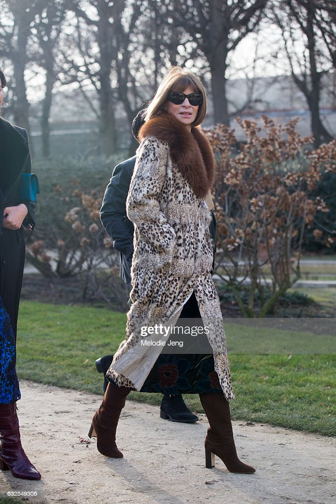 Anna Wintour at the Dior Couture show at Musee Rodin on January 23, 2017 in Paris, France.