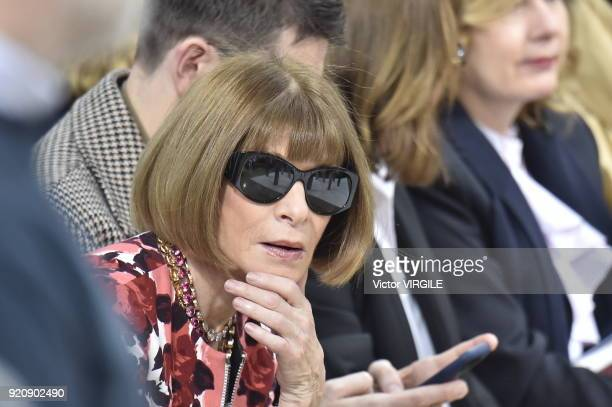 Anna Wintour at the JW Anderson Ready to Wear Fall/Winter 20182019 fashion show during London Fashion Week February 2018 on February 17 2018 in...