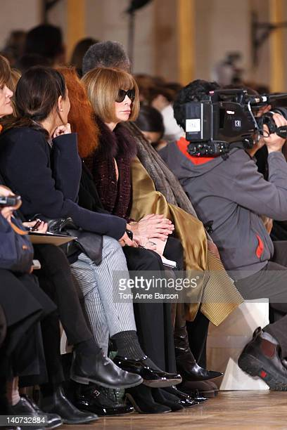 Anna Wintour attend the Stella McCartney ReadyToWear Fall/Winter 2012 show as part of Paris Fashion Week on March 5 2012 at the Hotel de Ville in...