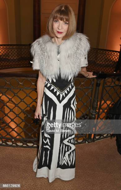 Anna Wintour attends a drinks reception ahead of the London Evening Standard Theatre Awards 2017 at the Theatre Royal Drury Lane on December 3 2017...
