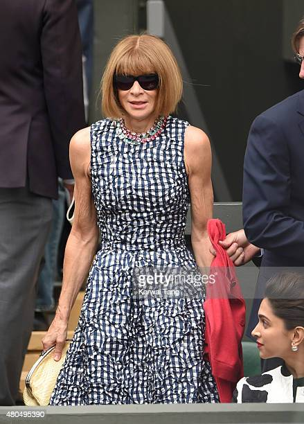 Anna Wintour attends day 13 of the Wimbledon Tennis Championships at Wimbledon on July 12, 2015 in London, England.