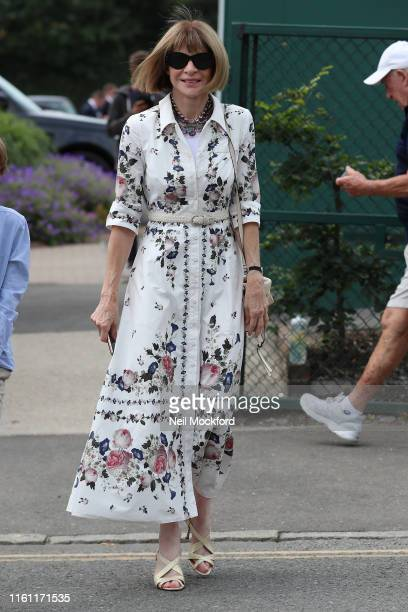 Anna Wintour attends day 9 of the Wimbledon 2019 Tennis Championships at All England Lawn Tennis and Croquet Club on July 10, 2019 in London, England.