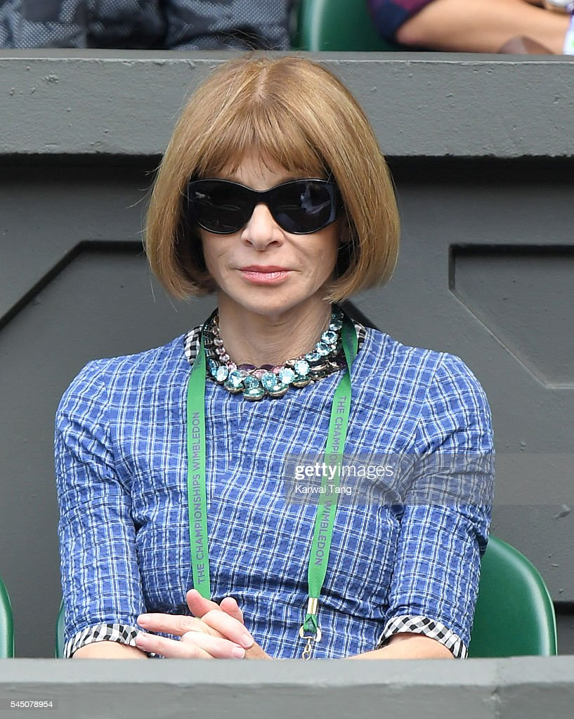 Anna Wintour attends day eight of the Wimbledon Tennis Championships at Wimbledon on July 05, 2016 in London, England.