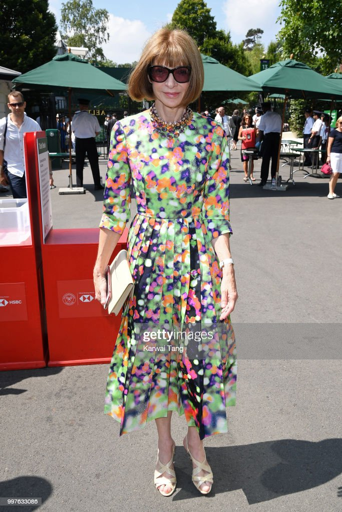 Anna Wintour attends day eleven of the Wimbledon Tennis Championships at the All England Lawn Tennis and Croquet Club on July 13, 2018 in London, England.