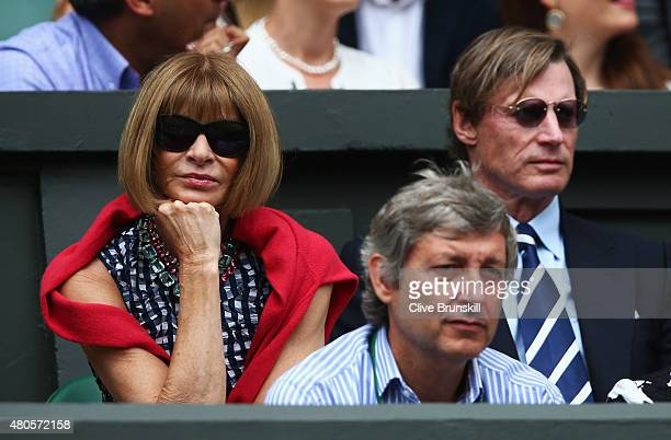 Anna Wintour attends day thirteen of the Wimbledon Lawn Tennis Championships at the All England Lawn Tennis and Croquet Club on July 12 2015 in...
