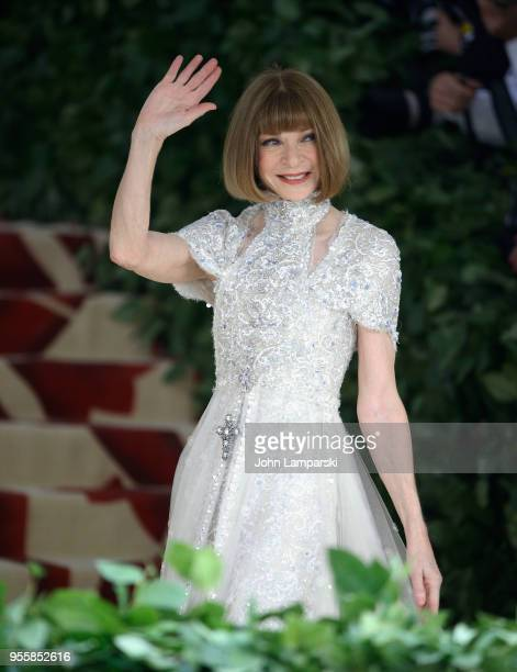 Anna Wintour attends Heavenly Bodies Fashion The Catholic Imagination Costume Institute Gala at The Metropolitan Museum of Art on May 7 2018 in New...