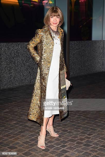 Anna Wintour attends Miuccia Prada and Patrizio Bertelli private screening of a short movie by David O Russell and dinner party at Fondazione Prada...