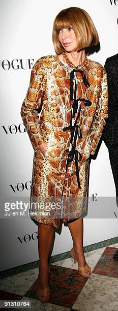 Anna Wintour attends the 90 years of Vogue covers at Hotel Crillon on October 1 2009 in Paris France