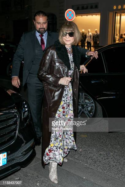 Anna Wintour attends the 'Americans In Paris' Cocktail Party Outside Arrivals as part of the Paris Fashion Week Womenswear Fall/Winter 2019/2020 on...