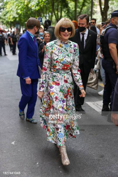 Anna Wintour attends the Balenciaga Haute Couture Fall/Winter 2021/2022 show as part of Paris Fashion Week on July 07, 2021 in Paris, France.