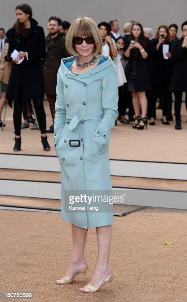 Anna Wintour attends the Burberry Prorsum show during London Fashion Week SS14 at Kensington Gardens on September 16 2013 in London England