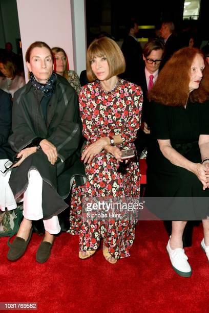 Anna Wintour attends the Calvin Klein Collection front Row during New York Fashion Week at New York Stock Exchange on September 11 2018 in New York...
