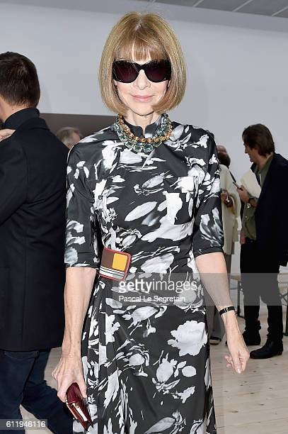 Anna Wintour attends the Celine show as part of the Paris Fashion Week Womenswear Spring/Summer 2017 on October 2 2016 in Paris France