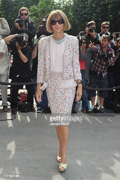 Anna Wintour attends the Chanel show as part of Paris Fashion Week HauteCouture Fall/Winter 20132014 at Grand Palais on July 2 2013 in Paris France