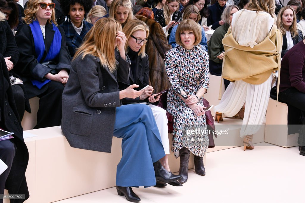 Anna Wintour attends the Chloe show as part of the Paris Fashion Week Womenswear Fall/Winter 2017/2018 on March 2, 2017 in Paris, France.
