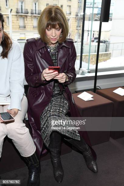 Anna Wintour attends the Chloe show as part of the Paris Fashion Week Womenswear Fall/Winter 2018/2019 on March 1 2018 in Paris France