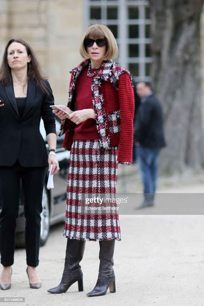 Anna Wintour attends the Christian Dior show as part of the Paris Fashion Week Womenswear Fall/Winter 2017/2018 on March 3, 2017 in Paris, France.