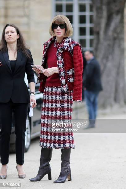 Anna Wintour attends the Christian Dior show as part of the Paris Fashion Week Womenswear Fall/Winter 2017/2018 on March 3 2017 in Paris France