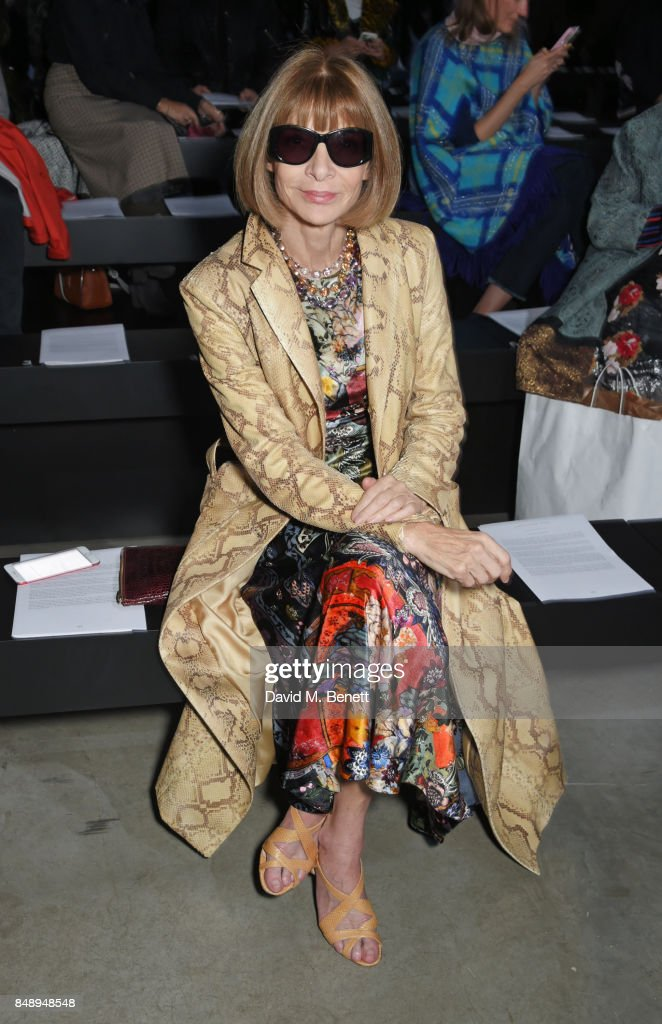 Anna Wintour attends the Christopher Kane SS18 catwalk show during London Fashion Week September 2017 at The Tanks at Tate Modern on September 18, 2017 in London, England.