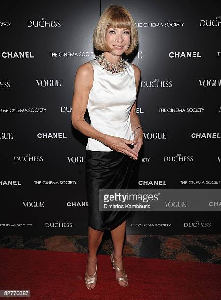 Anna Wintour attends the Cinema Society with Chanel and Vogue's screening of The Duchess at the Public Theater on September 10 2008 in New York City
