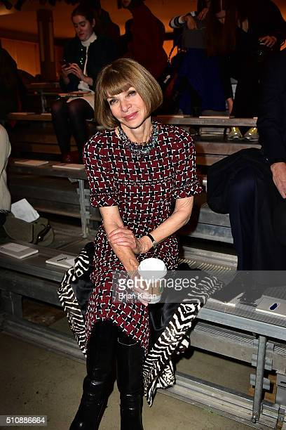 Anna Wintour attends the DKNY Women's Fall 2016 Show from Front Row during New York Fashion Week The Shows at the Skylight Modern on February 17 2016...