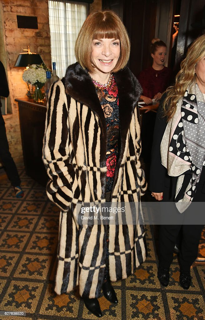 Anna Wintour attends The Fashion Awards in partnership with Swarovski nominees' lunch hosted by the British Fashion Council with Grey Goose at Little House Mayfair on December 4, 2016 in London, England.
