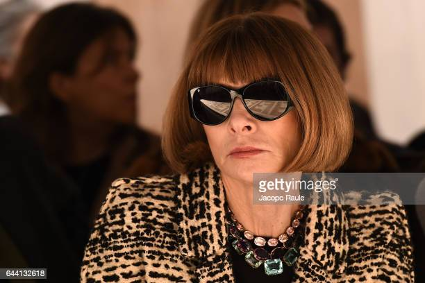 Anna Wintour attends the Fendi show during Milan Fashion Week Fall/Winter 2017/18 on February 23 2017 in Milan Italy