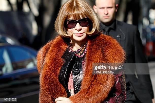 Anna Wintour attends the Giorgio Armani Autumn/Winter 2012/2013 fashion show as part of Milan Womenswear Fashion Week on February 27 2012 in Milan...
