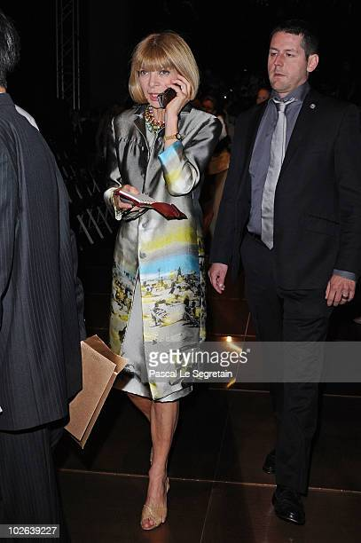 Anna Wintour attends the Giorgio Armani Prive show as part of the Paris Haute Couture Fashion Week Fall/Winter 2011 Espace Vendome on July 6 2010 in...
