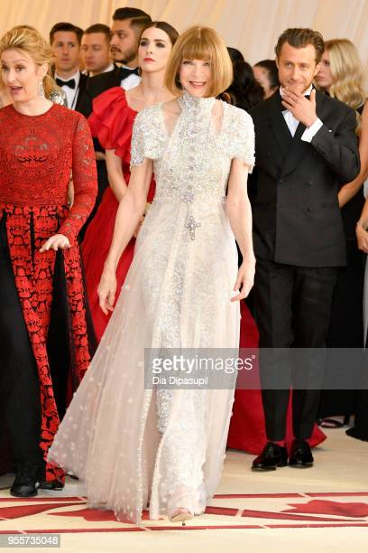 Anna Wintour attends the Heavenly Bodies Fashion The Catholic Imagination Costume Institute Gala at The Metropolitan Museum of Art on May 7 2018 in...