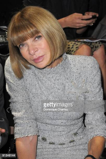 Anna Wintour attends the Lanvin Pret a Porter show as part of the Paris Womenswear Fashion Week Spring/Summer 2010 on October 2 2009 in Paris France