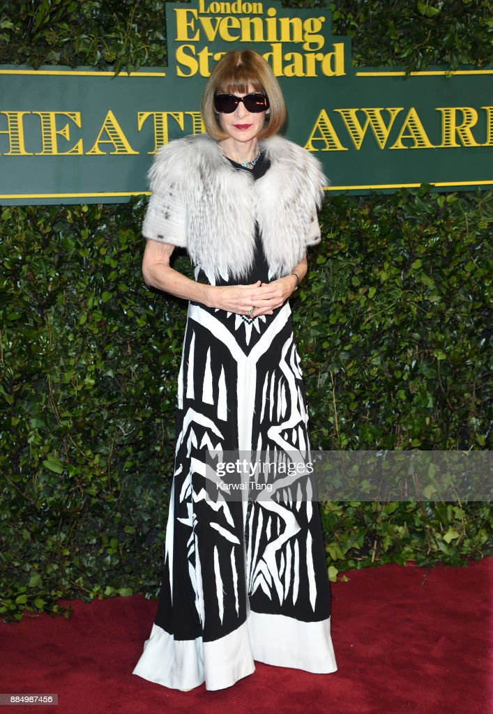 Anna Wintour attends the London Evening Standard Theatre Awards at Theatre Royal on December 3, 2017 in London, England.