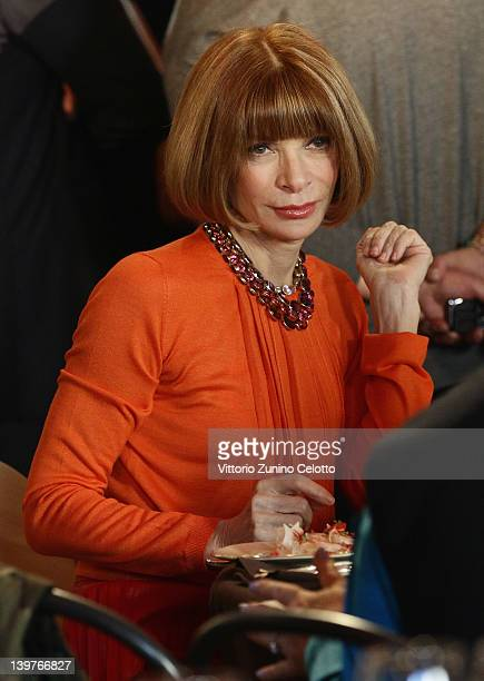 Anna Wintour attends the Miuccia Prada And Elsa Schiapparelli Impossible Conversations opening exhibition during Milan Womenswear Fashion Week on...
