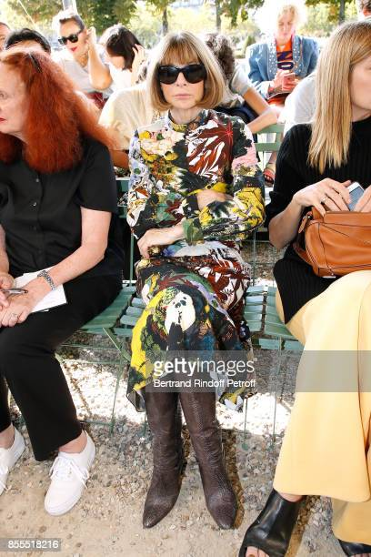 Anna Wintour attends the Nina Ricci show as part of the Paris Fashion Week Womenswear Spring/Summer 2018 on September 29 2017 in Paris France