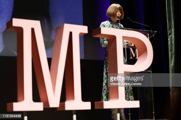 Anna Wintour attends the Press Event for The Costume Institute's spring 2019 exhibition 'Camp Notes on Fashion' on February 22 2019 in Milan Italy
