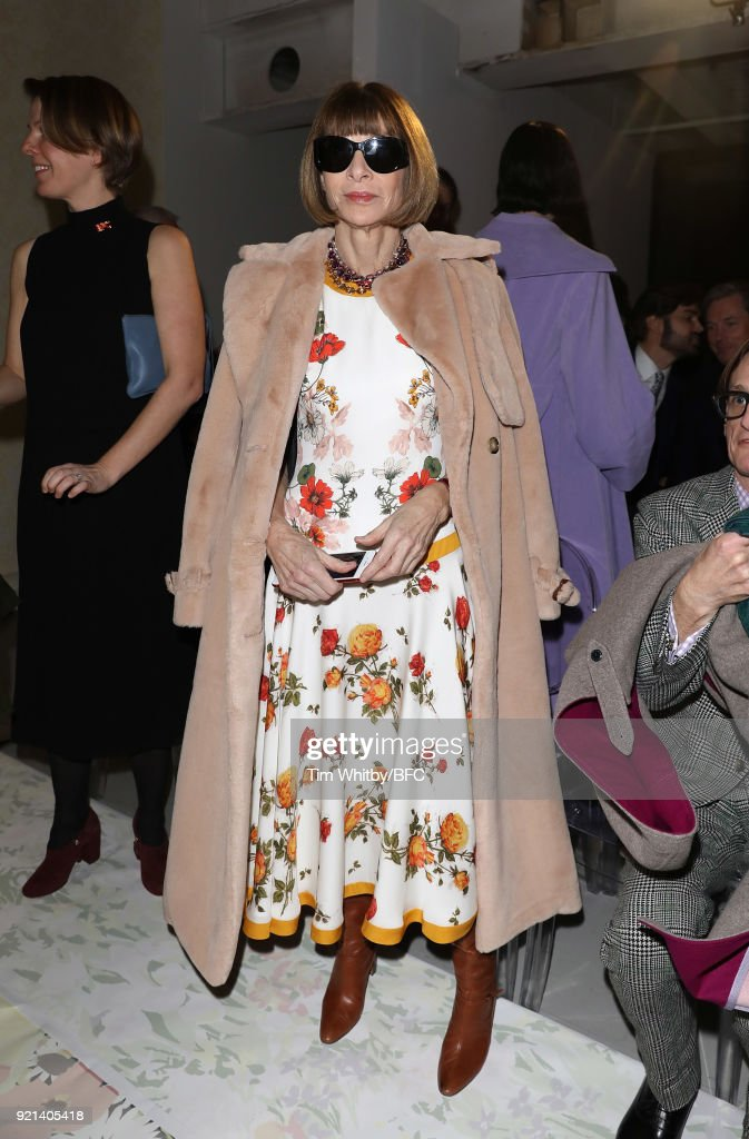 Anna Wintour attends the Richard Quinn show during London Fashion Week February 2018 at BFC Show Space on February 20, 2018 in London, England.