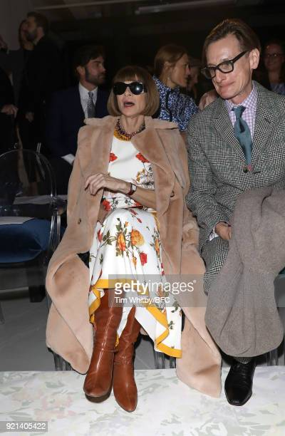 Anna Wintour attends the Richard Quinn show during London Fashion Week February 2018 at BFC Show Space on February 20 2018 in London England