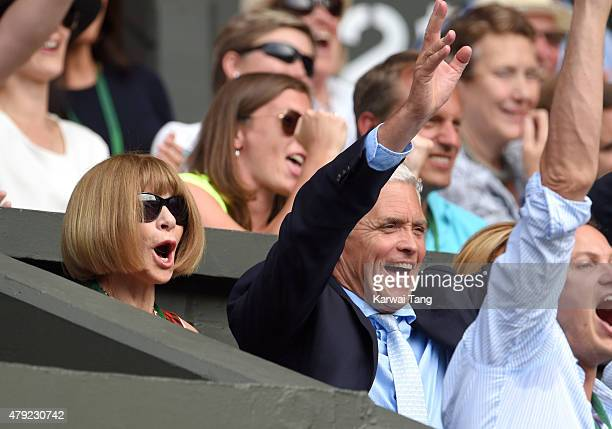 Anna Wintour attends the Sam Querry v Roger Federer match on day four of the Wimbledon Tennis Championships at Wimbledon on July 2, 2015 in London,...