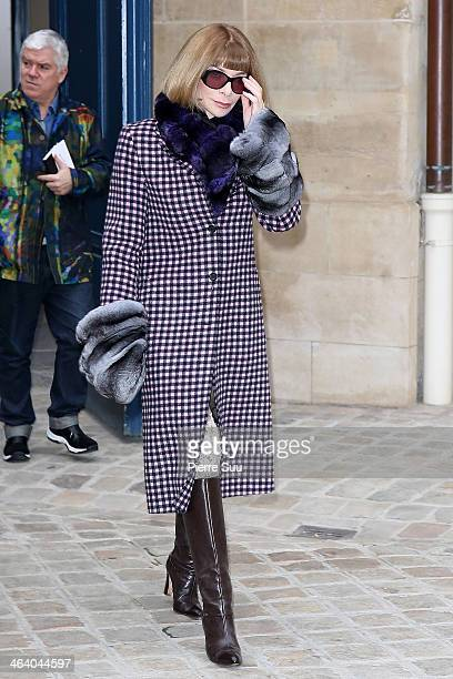Anna Wintour attends the Schiaparelli show as part of Paris Fashion Week Haute Couture Spring/Summer 2014 on January 20 2014 in Paris France