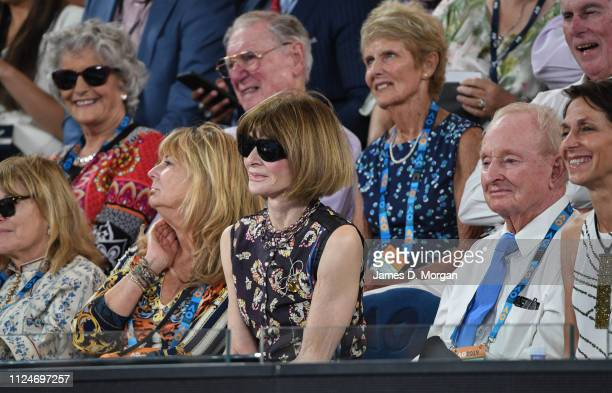 Anna Wintour attends the second men's semi final with Novak Djokovic against Lucas Pouille on day 12 of the 2019 Australian Open at Melbourne Park on...