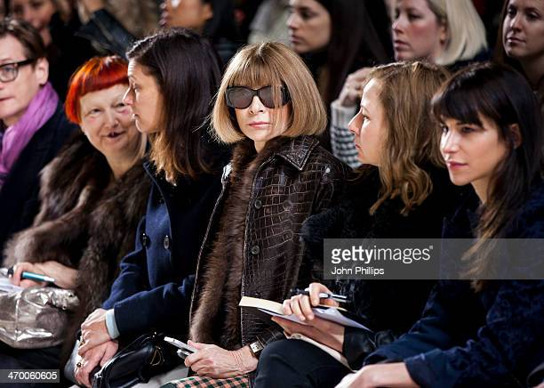 Anna Wintour attends the Simone Rocha show at London Fashion Week AW14 at Tate Modern on February 18 2014 in London England