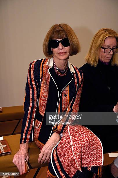 Anna Wintour attends the Tod's show during Milan Fashion Week Fall/Winter 2016/17 on February 26 2016 in Milan Italy