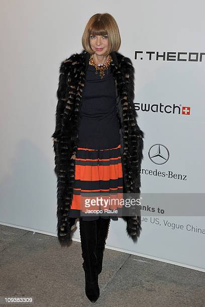Anna Wintour attends the Vogue Talents Corner Vogue Italia during Milan Fashion Week Womenswear A/W 2011 on February 23 2011 in Milan Italy