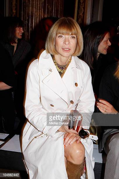Anna Wintour attends the Zac Posen Ready to Wear Spring/Summer 2011 show during Paris Fashion Week at Hotel Westin on September 30 2010 in Paris...