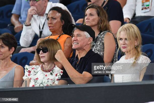 Anna Wintour Baz Luhrmann and Nicole Kidman watch one of the women's semi finals on Rod Laver Arena as they attend the 2019 Australian Open at...