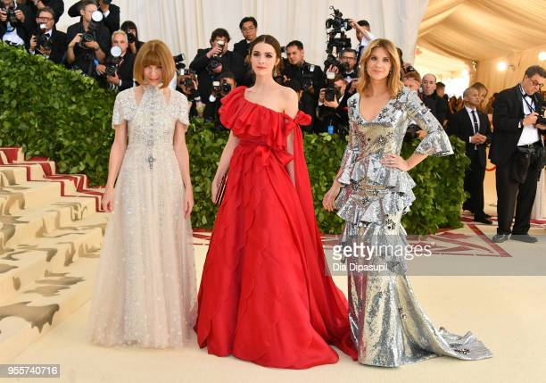 Anna Wintour Bee Shaffer and Elizabeth Cordry attend the Heavenly Bodies Fashion The Catholic Imagination Costume Institute Gala at The Metropolitan...