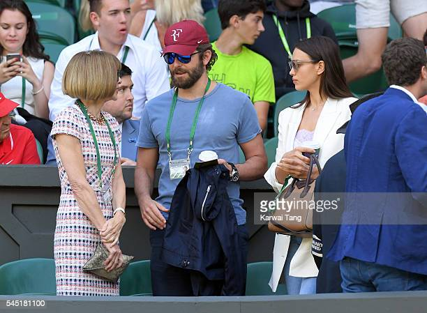 Anna Wintour, Bradley Cooper and Irina Shayk attend day nine of the Wimbledon Tennis Championships at Wimbledon on July 06, 2016 in London, England.